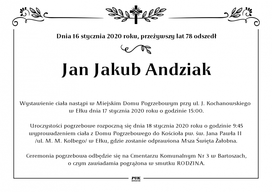 Jan Jakub Andziak - nekrolog